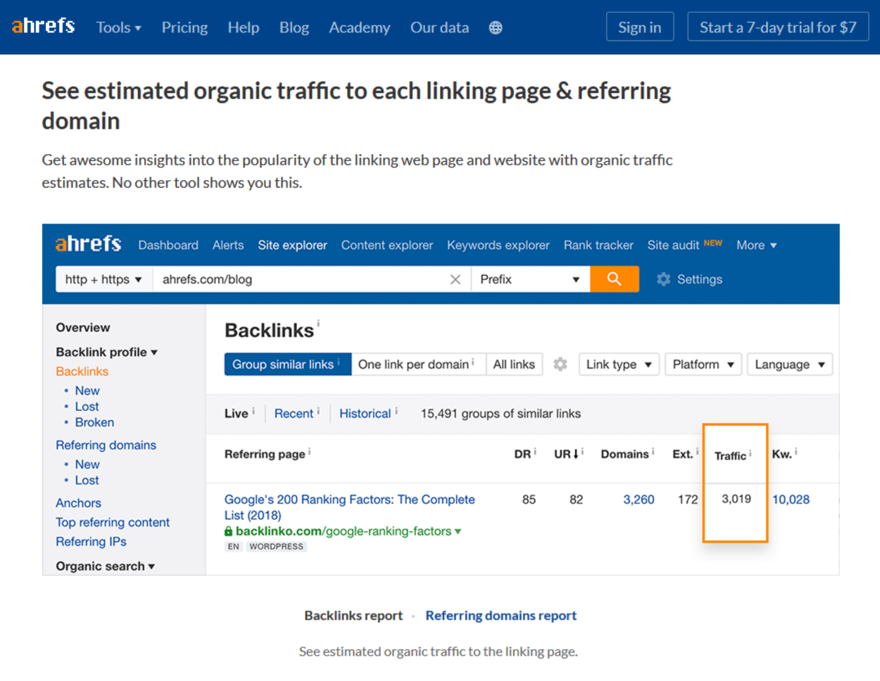 Ahrefs - Organic Traffic - Linking Page - Referring Domain