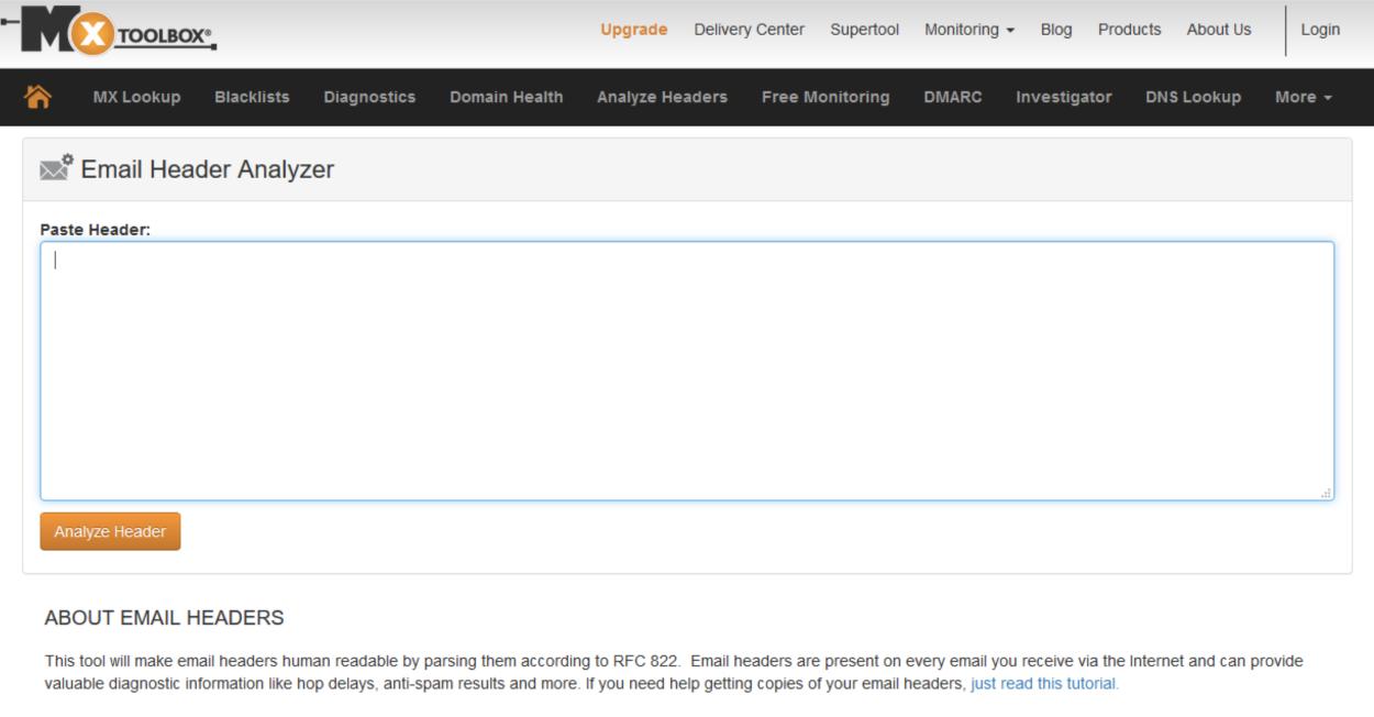 MXToolbox - Email Header Analyzer