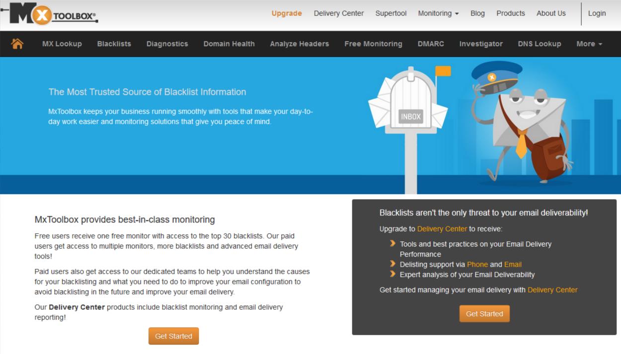 MXToolbox - Free Monitoring