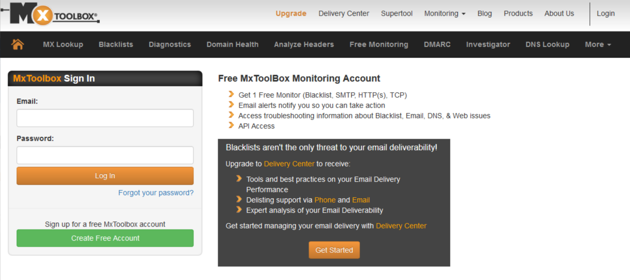 MXToolbox - Homepage - Signup
