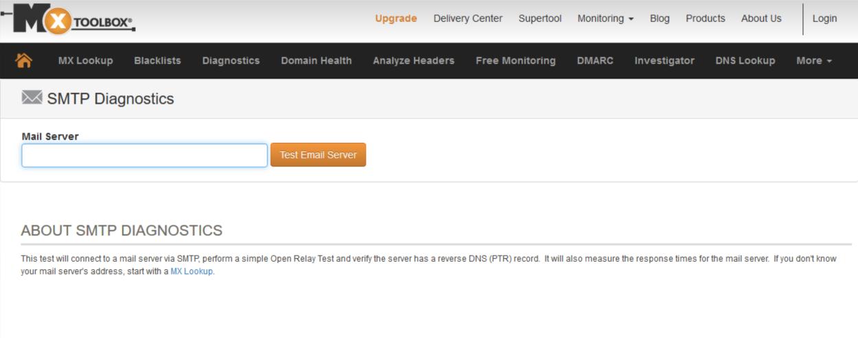 MXToolbox - SMTP Diagnotics