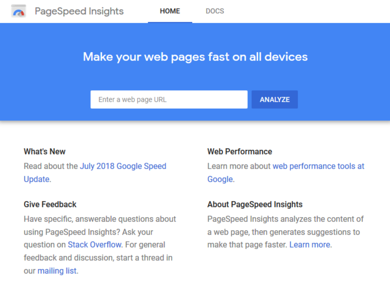 PageSpeed Insights - Homepage