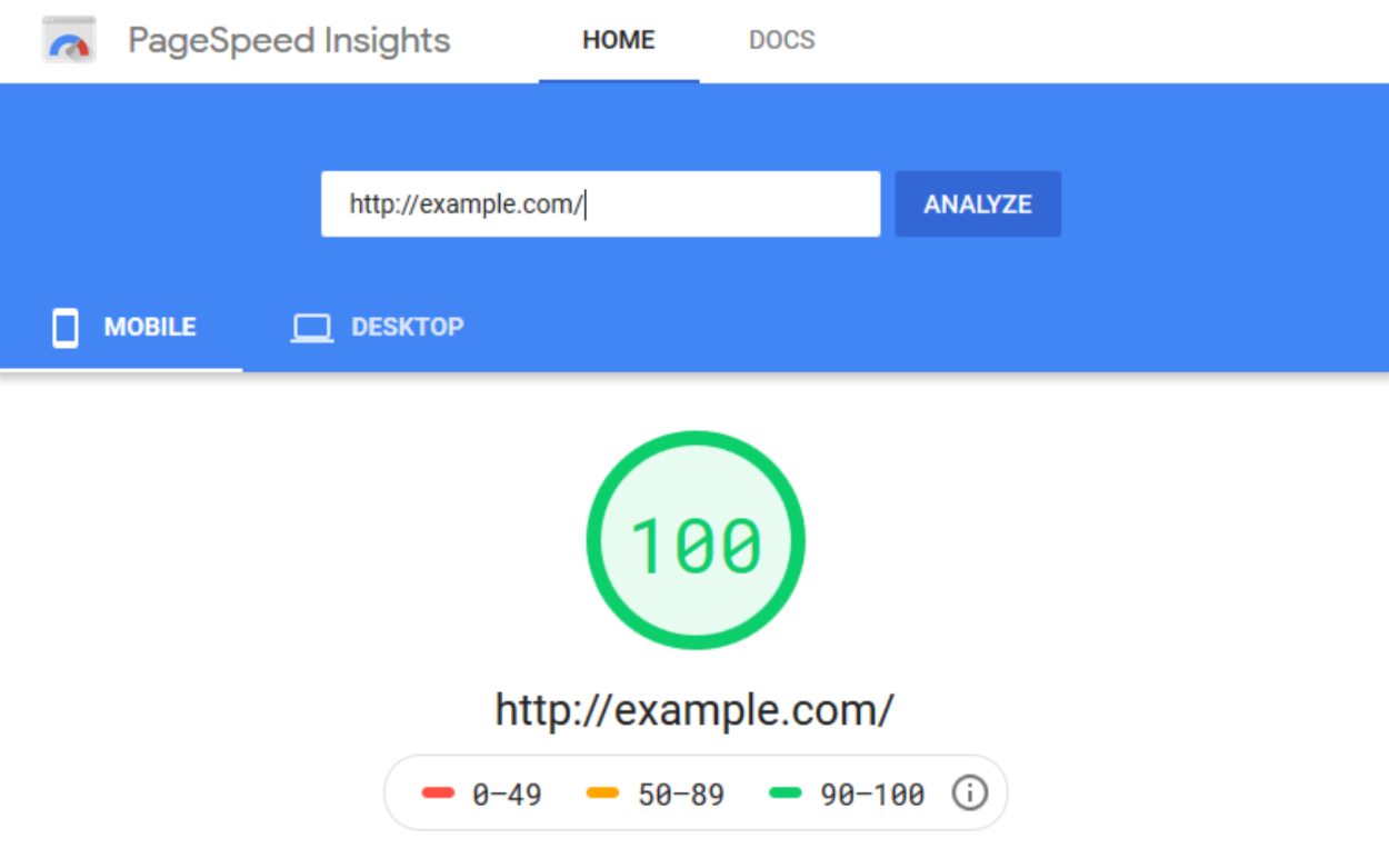 PageSpeed Insights - Performance Score - Mobile
