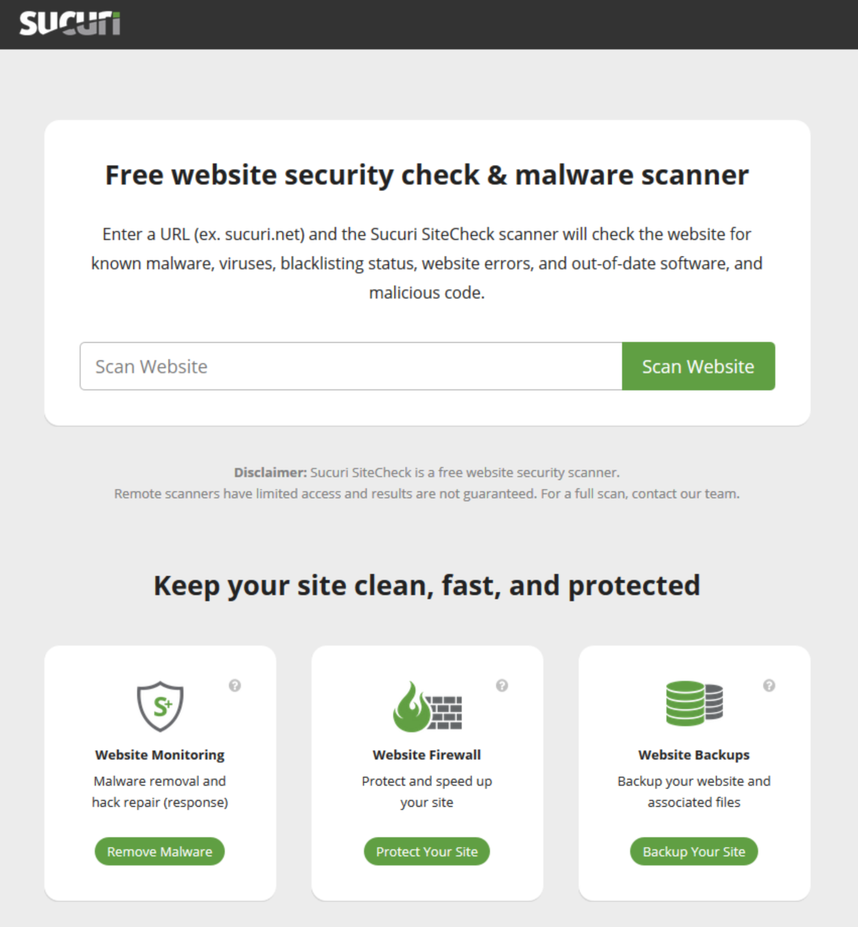 Sucuri SiteCheck Website Security - Homepage