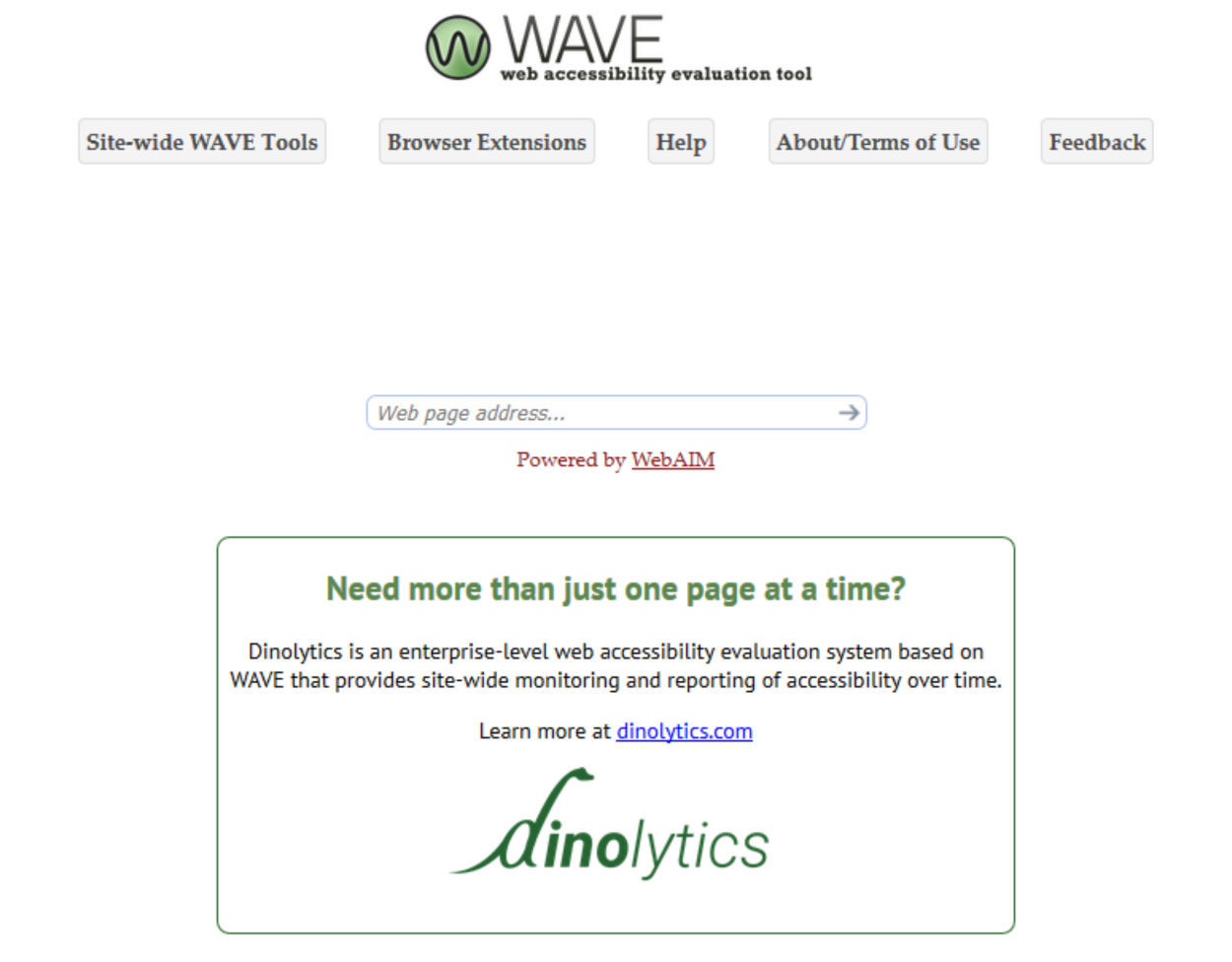 WebAIM WAVE Accessibility Evaluation Tool - Homepage