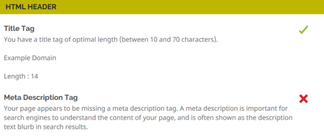 Website Audit Tool - HTML Header